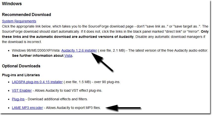 recommended downloads – latest version of audacity